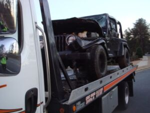 Marietta Wrecker Service Towing a Motorist's Jeep