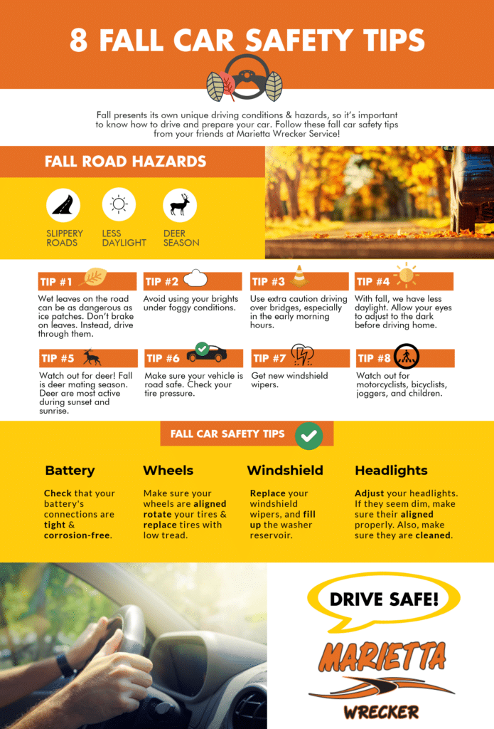 Fall Car Safety Tips Infographic Marietta Wrecker Service